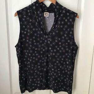 ANNE KLEIN: Black / dots sleeveless dressy top XL